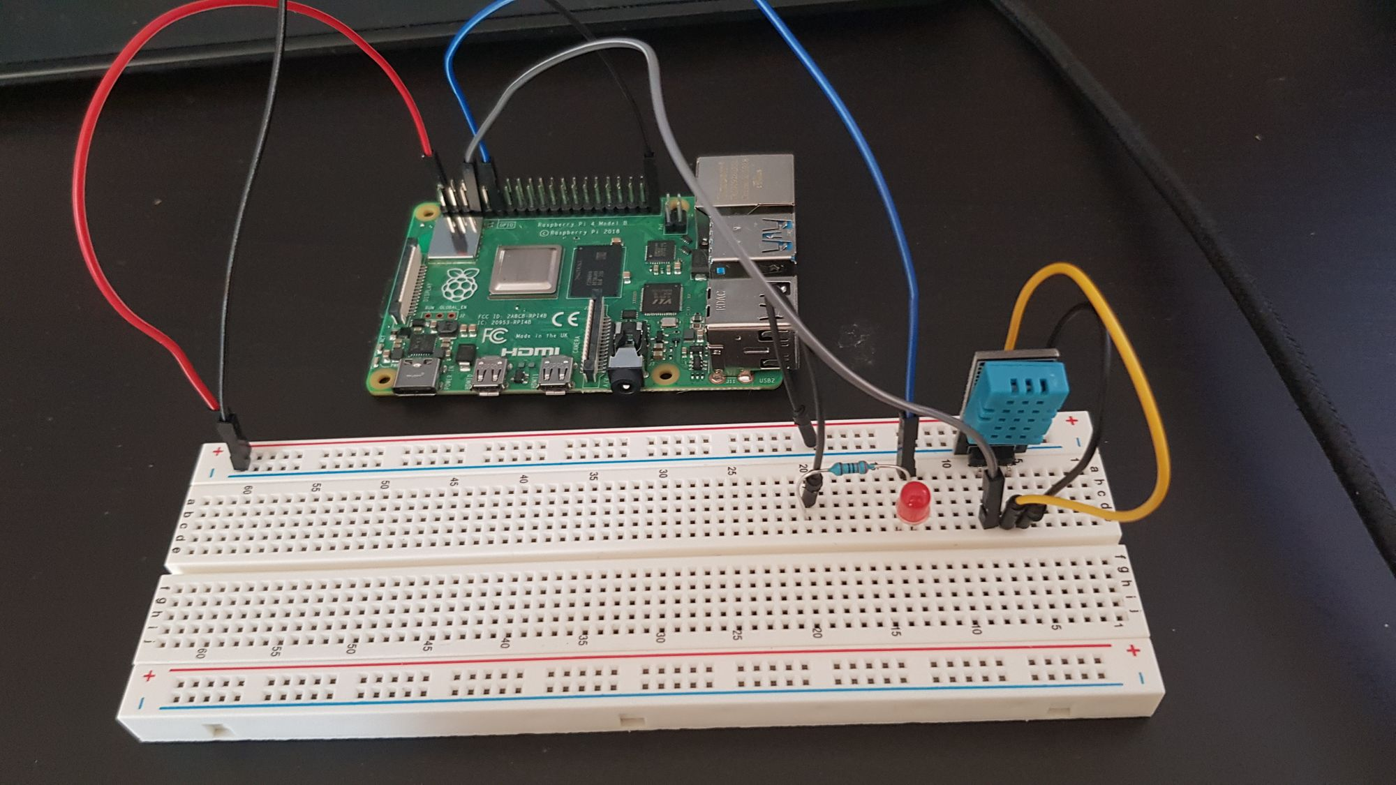 pi wired to breadboard second angle