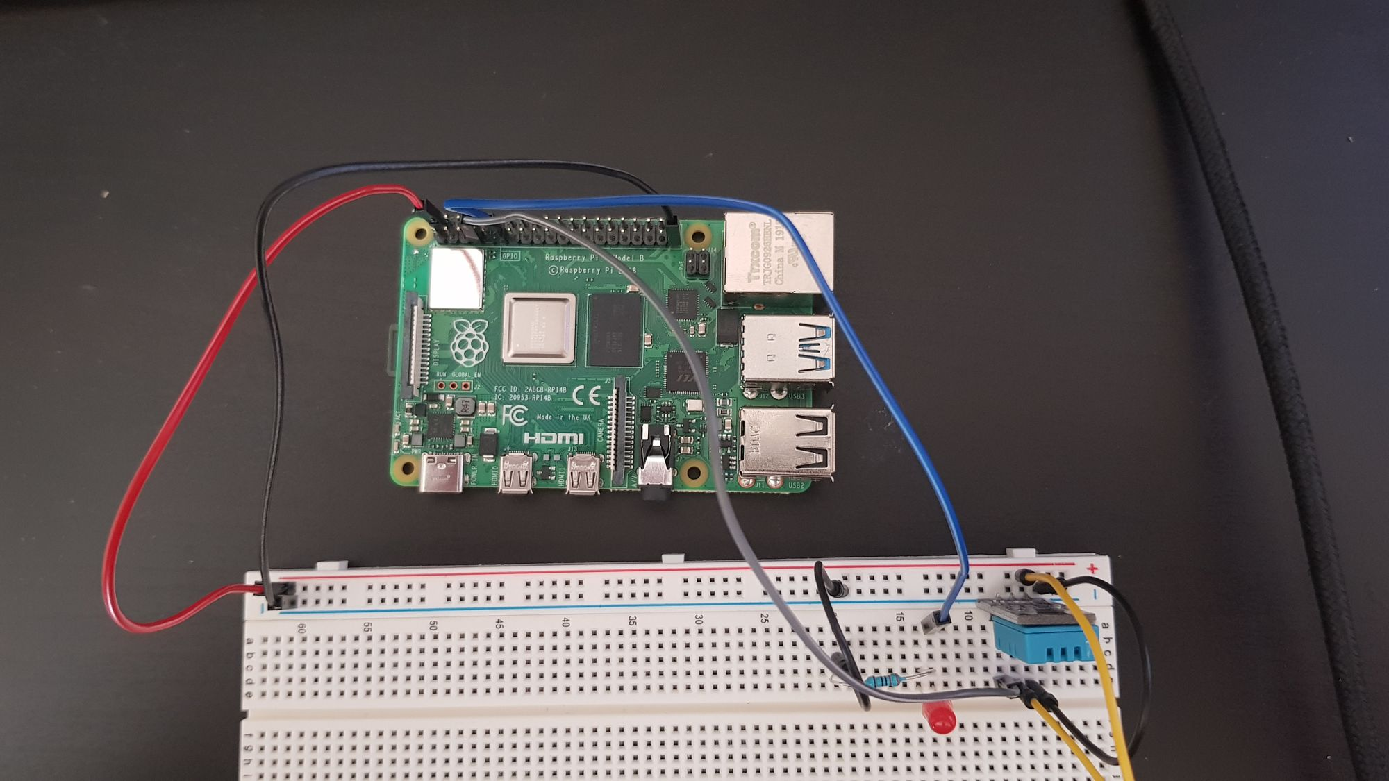 pi wired to breadboard